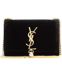 Saint Laurent Petit Satchel Monogramme Velvet Shoulder Bag - Lyst