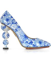 Charlotte Olympia Ming Blue Koi Print Patent Leather Court Pump - Lyst