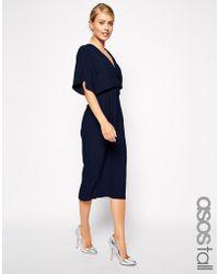 Asos Tall Midi Dress with Obi Belt - Lyst