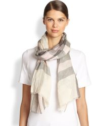 Burberry Check Linen Scarf - Lyst