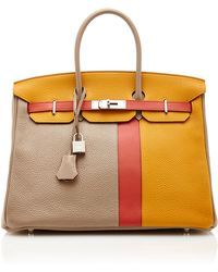 Heritage Auctions Special Collection Limited Edition Hermes 35Cm Gris Tourterelle, Rose Jaipur & Moutarde Swift & Clemence Leather Birkin - Lyst