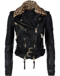Burberry Prorsum | Animal Print Collar Lambskin Biker Jacket | Lyst