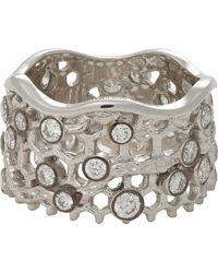 Aurelie Bidermann Diamond  White Gold Dentelle Ring - Lyst