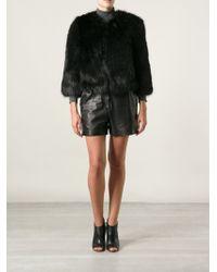 DKNY Faux Fur Cropped Coat - Lyst