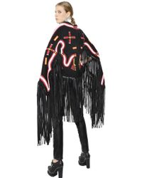KTZ - Fringed Embroidered Faux Suede Cape - Lyst