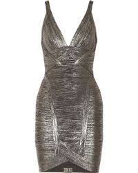 Hervé Léger Ari Metallic Bandage Mini Dress - Lyst