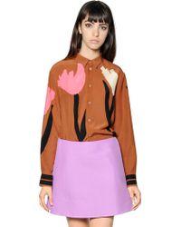 Marni Floral Printed Silk Crepe Shirt - Lyst