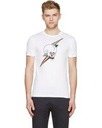 Paul Smith White Cotton Skull And Lightening T_Shirt - Lyst