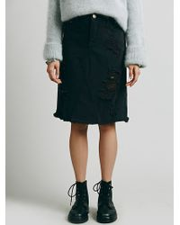 Free People La Lady Denim Skirt - Lyst
