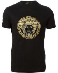 Versace Medusa Embroidered T-shirt - Lyst