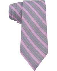 Calvin Klein Lilac Classic Bar Stripe Skinny Tie - Lyst