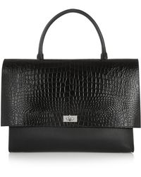 Givenchy Large Shark Bag In Black Croc-Effect Leather And Suede - Lyst
