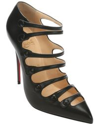Christian Louboutin Black Leather Viennana 120 Strappy Ankle Boots - Lyst