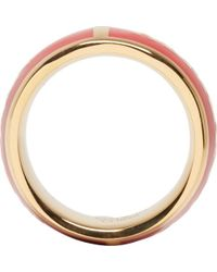 Alexander McQueen Red And Gold Enamel Ring - Lyst