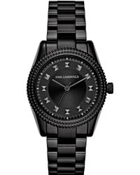 Karl Lagerfeld Black Petite Stud Watch - Lyst