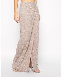 Asos Maxi Skirt in Sequins with Wrap Front - Lyst