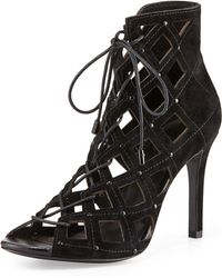 Joie Cayla Studded Suede Cage Bootie - Lyst