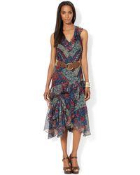 Lauren by Ralph Lauren Sleeveless Patch Work Print Handkerchief Hem Dress - Lyst