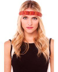 AKIRA - Chevron Bead Headband in Brown Red - Lyst