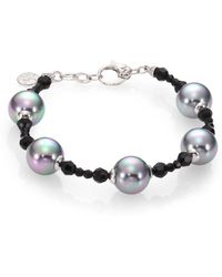 Majorica 12Mm Grey Round Pearl, Hematite & Sterling Silver Beaded Bracelet - Lyst