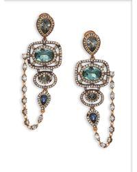 Oscar de la Renta PavÉ Crystal Framed Drop Earrings - Lyst