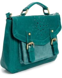 Asos Leather Satchel Bag with Floral Punch Out - Lyst