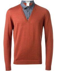 Paul & Joe Faux Shirt Collar Insert Sweater - Lyst