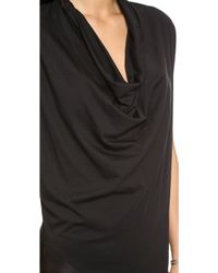 Helmut Lang Feather Jersey Drape Shirt Black - Lyst
