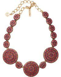 Oscar de la Renta Disk Necklace pink - Lyst