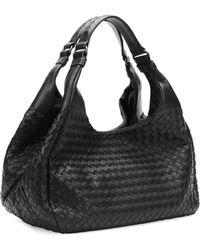 Bottega Veneta Medium Woven Napa Hobo Bag Black - Lyst