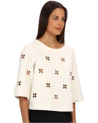 Tibi Boutis Embroidery 34 Sleeve Top - Lyst