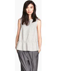 H&M Gray Sleeveless Top - Lyst