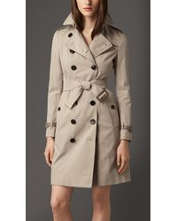 Burberry Leather Detail Gabardine Trench Coat - Lyst