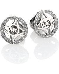 Michael Kors Heritage Monogram PavÉ Logo Stud Earrings silver - Lyst