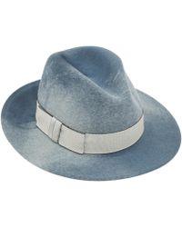 Eugenia Kim Blue Marbled Harper Felt Fedora Hat - Lyst