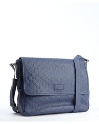 Gucci Blue Gg Stamped Leather Bag - Lyst