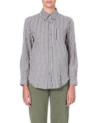 Etoile Isabel Marant Striped Cotton Shirt Grey - Lyst