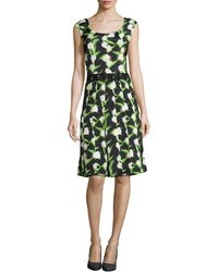Zac Posen Sleeveless Floral Fit  Flare Dress - Lyst