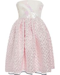 Monique Lhuillier Iridescent Pink Matelasse Strapless Embroidered Empire Dress - Lyst