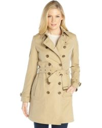 Burberry Honey Cotton Double Breasted Belted Trench Coat - Lyst