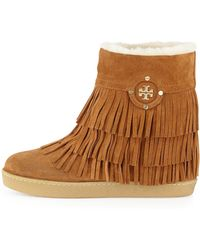 b6847b6aae4 Tory Burch - Collins Shearling-Lined Fringe Bootie - Lyst