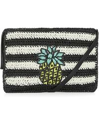 Topshop 'Pineapple' Woven Clutch black - Lyst