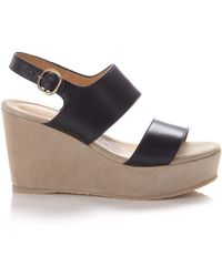 A.P.C. Two Tone Leather Wedge Sandals - Lyst