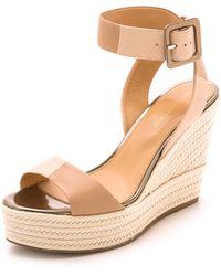 Sergio Rossi Wedge Sandals - Nude - Lyst