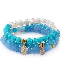 Sequin - Beaded Aqua Hamsa Bracelets, Set Of 3 - Lyst