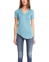 Helmut Lang V Neck Kinetic Tee blue - Lyst