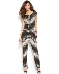 Inc International Concepts Cap-sleeve Snake-print Jumpsuit - Lyst
