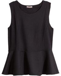 H&M + Sleeveless Peplum Top - Lyst