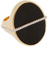 Rachel Zoe Black Leather And 12K Gold Stamp Ring gold - Lyst