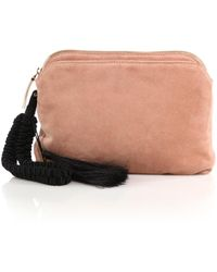 The Row Suede Tassel Wristlet Clutch brown - Lyst